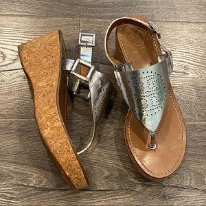 🤩Tory Burch Daniela Leather Wedge Thong Sandals 8